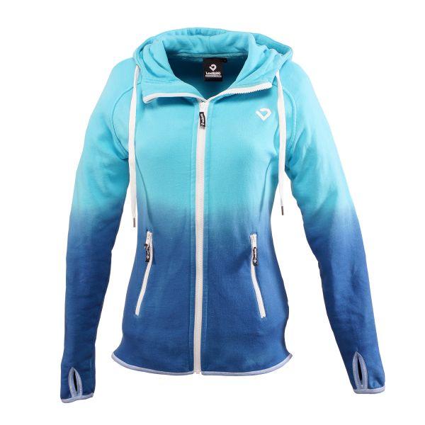 Dip Dye Zip Hoodie mit Farbverlauf von hell in dunkel blau - Vorderansicht