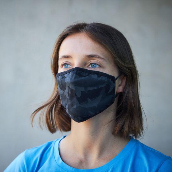 Mund- und Nasenmaske / Behelfsmaske mit Gummibändern (Wiederverwendbar) schwarz