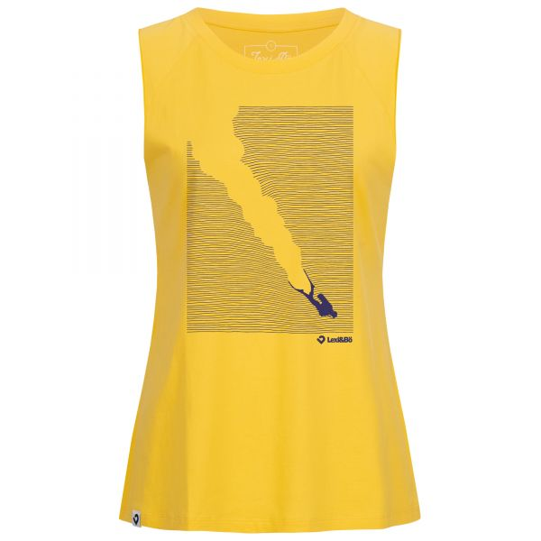 Cool oversized women's tank top in yellow with scuba diver print by Lexi&Bö