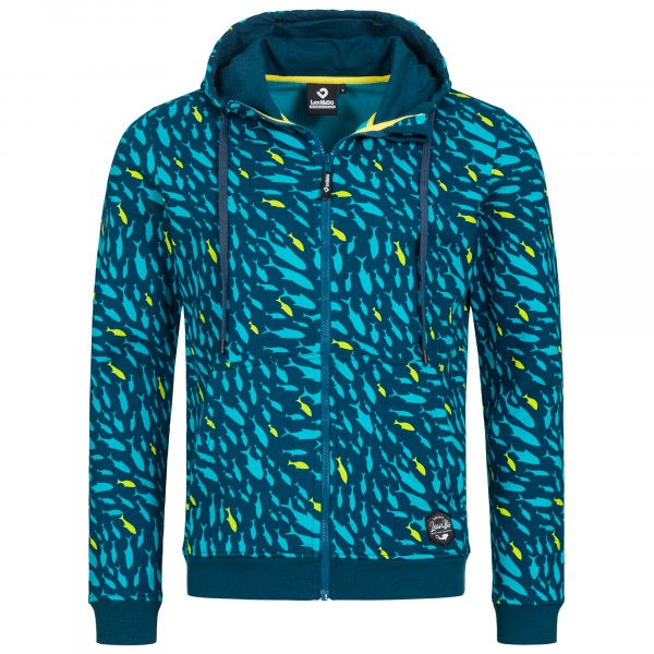Mens Zip Hoodie with Fish Allover Print in the Colour Blue with Light Blue and Yellow-Green Fish Pattern