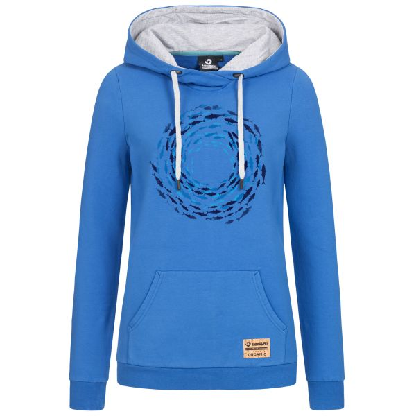 Ladies Hoodie Fish Vortex - Hooded sweatshirt with fish motif print in the colours Strong Blue and Magenta Purple
