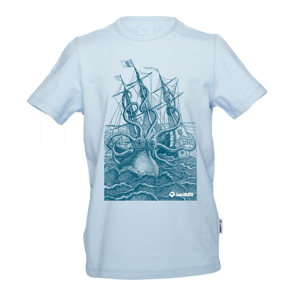 The Rage of the Kraken Jungen T-Shirt in blue bell mit großem Front print - Vorderansicht