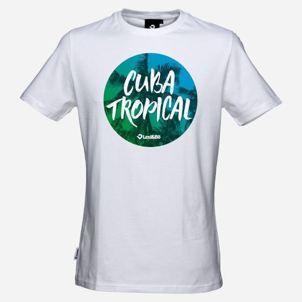 Cuba Tropical T-Shirt für Männer in weiß, Vorderansicht