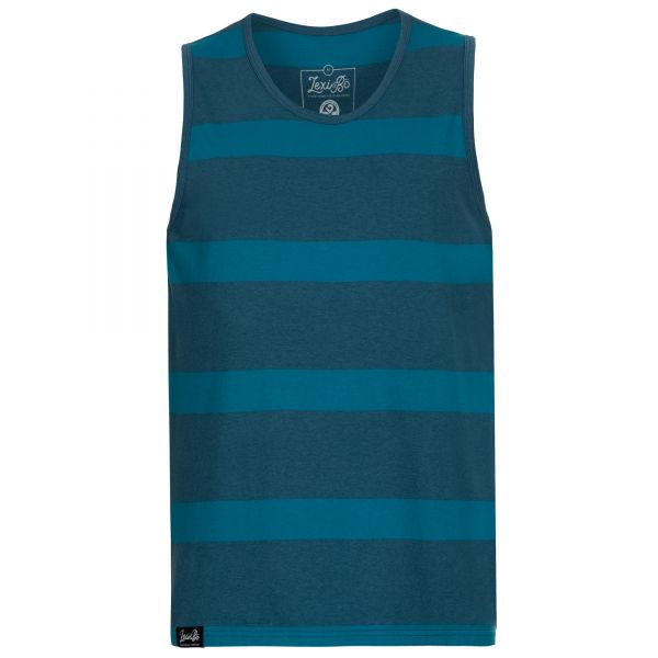 Two-tone blue striped men's tank top with loose fit