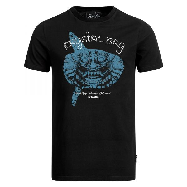 Crystal Bay Bali T-Shirt in schwarz für Herren von Lexi&Bö - Vorderseite mit großem Barong/Mondfisch-Design