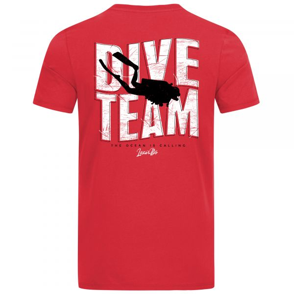 """Red men's pocket T-shirt with large """"Dive Team"""" print on the back."""