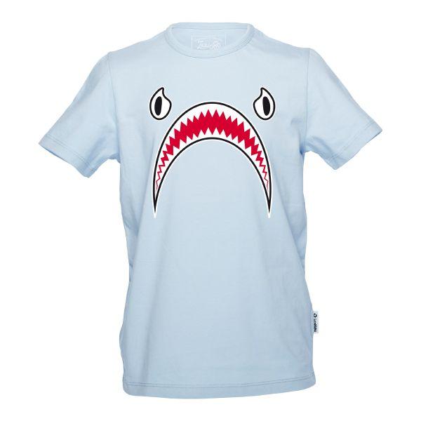 Shark bite Jungen T-Shirt in der Farbe blue bell mit Hai Fratze - Vorderansicht