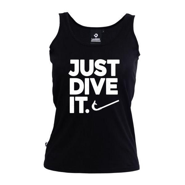 Just dive it. Damen Tank Top black mit weißem Schriftzug - Vorderansicht