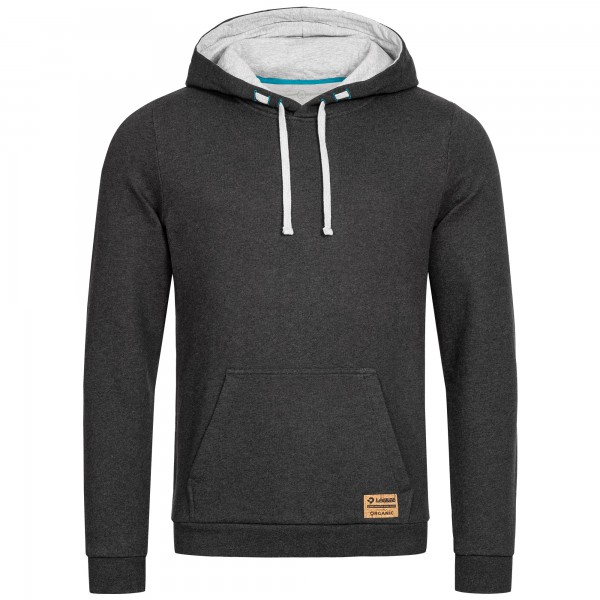Dark grey basic hoodie for men with large kangaroo pockets and drawcord