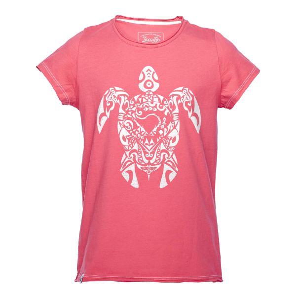 Tribal Turtle Mädchen Shirt in der Farbe honeysuckle mit weißer Schildkröte - Vorderansicht