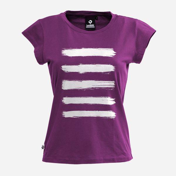 Lexi&Bö Brushed Stripes Women T-Shirt in Aubergine