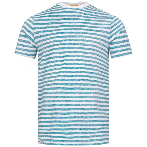 White T-shirt for men with turquoise-blue Inside Out stripe print